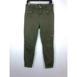 Paige 'Daryn' High Rise Ankle Zip Olive Jeans 31